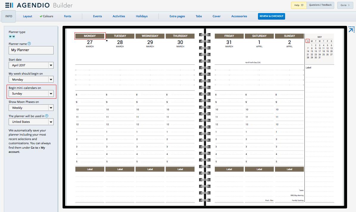 Mini-Calendar Start Day