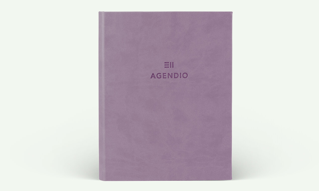 Agendio planner with a lavender eco-leather wrap cover