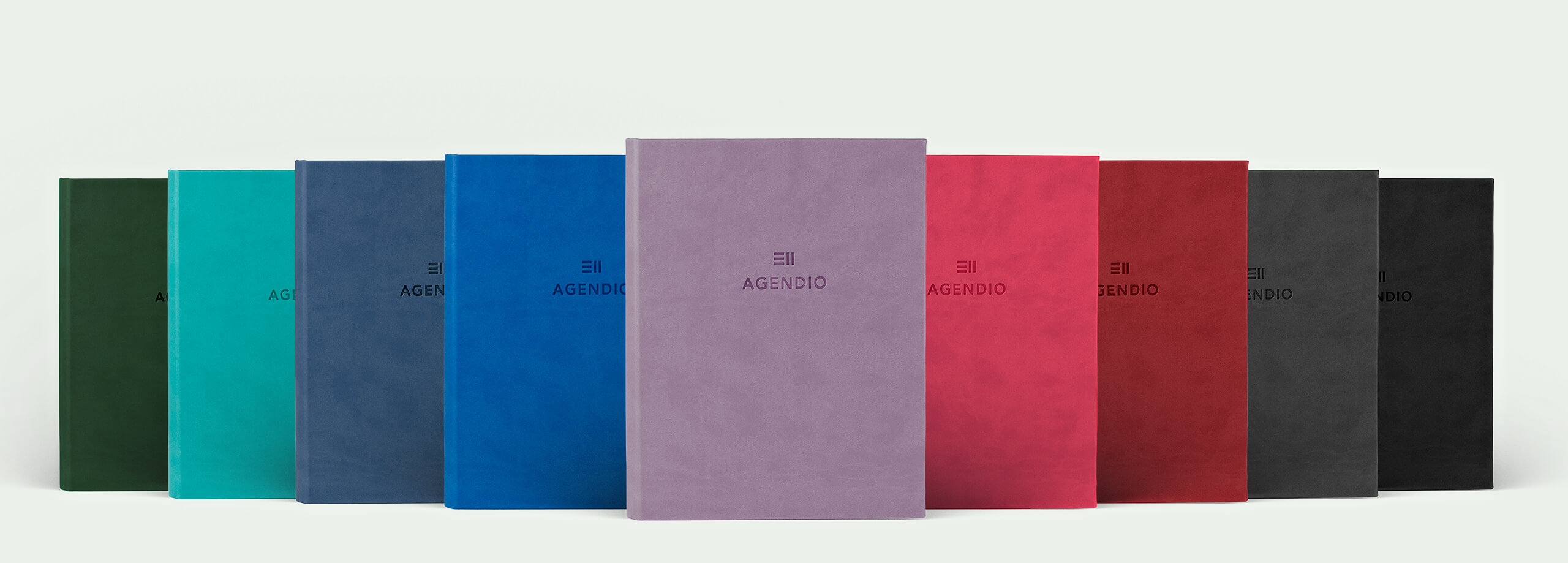Agendio customizable planners available in 9 gorgeous color wrap covers.